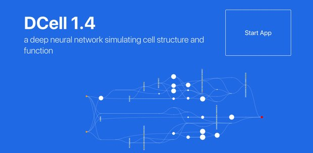 Screenshot shows the home page for DCell, a deep neural network simulating cell structure and function.
