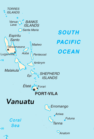 map of Vanuatu islands