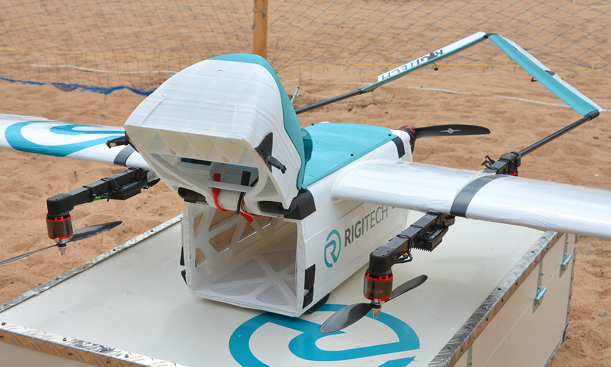 Close-up of Switzerland's RigiTech drone.