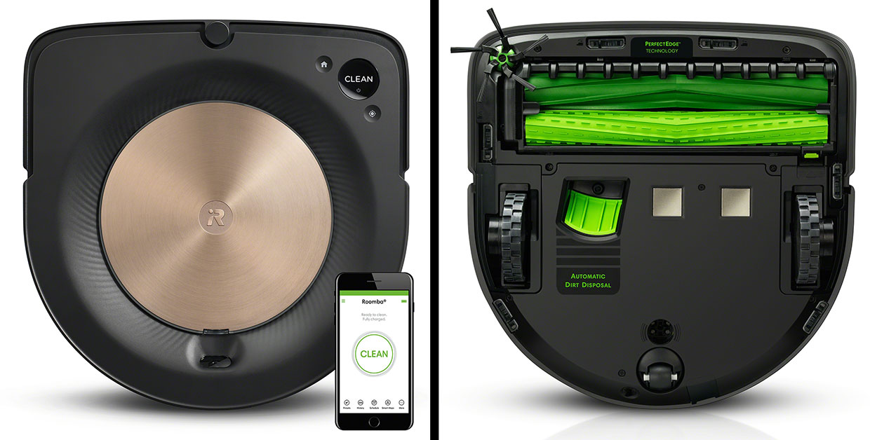 The Roomba s9 front and back