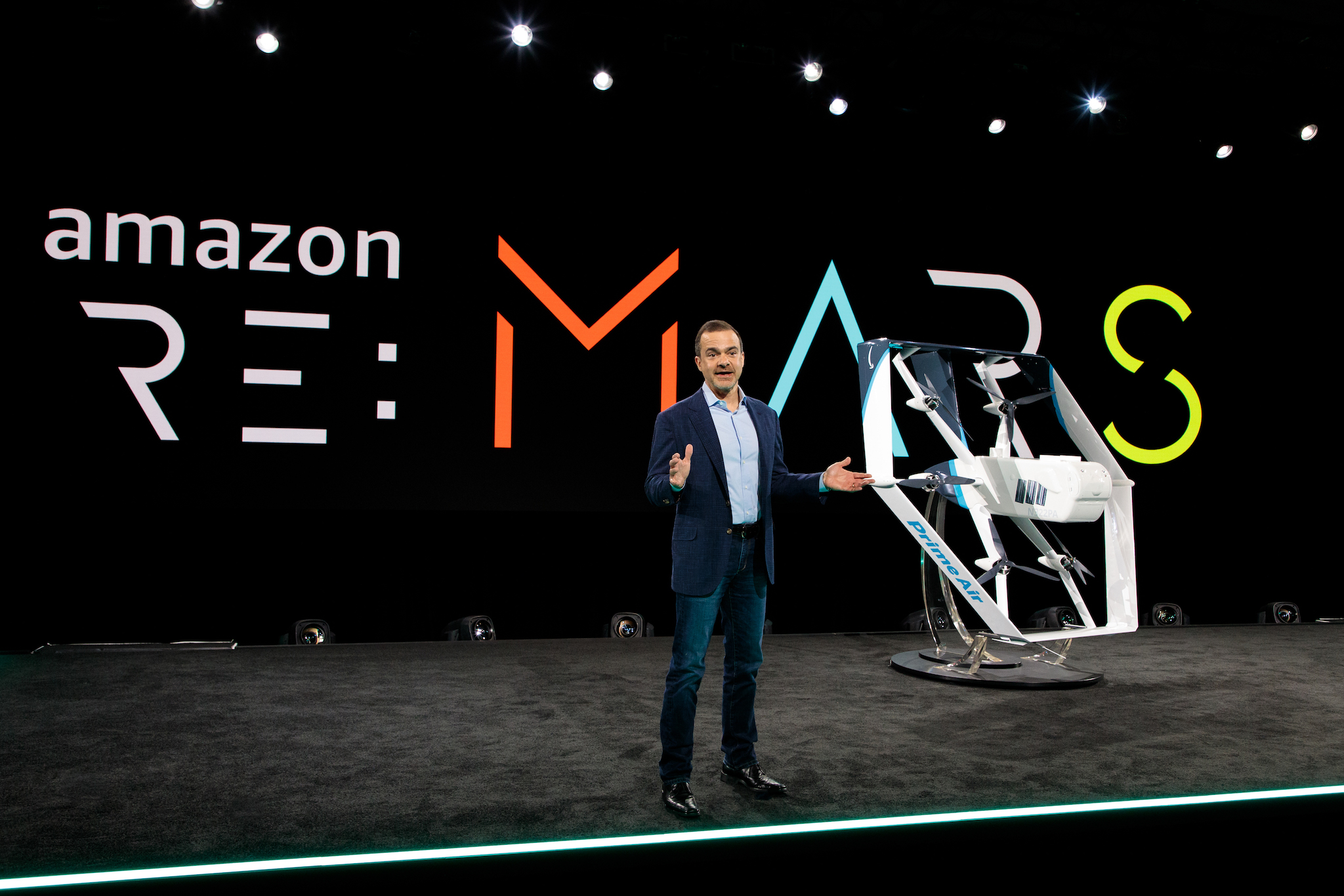 Jeff Wilke introduces new Prime Air drones at Amazon's re:MARS conference.
