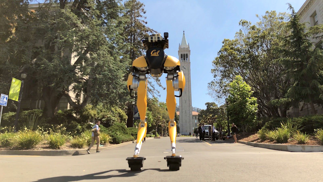 Cassie on hovershoes at the UC Berkeley campus